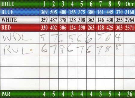 golf scorecard, 2010.02.27